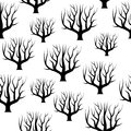 Seamless black and white curved trees without leaves backgrounds