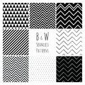 Seamless Black and White geometric background set. Royalty Free Stock Photo