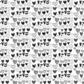 Seamless black and white heart pattern on white font