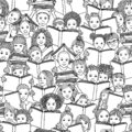 Seamless black and white pattern of children reading books Royalty Free Stock Photo