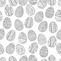 Seamless black and white pattern Easter eggs for coloring book