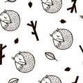 Seamless black and white pattern with fox,branch and leaves.Minimalistic texture in scandinavian style.Vector background.