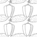 Seamless black and white pattern with peppers and cucumbers. Illustration for coloring book