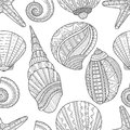 Seamless black and white pattern of seashells to coloring book Royalty Free Stock Photo