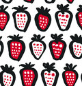 Seamless black, white and red contrast background with berries. Vector fabric texture. Decorative drawing pattern.