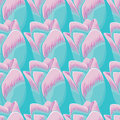 Seamless blue background with tulips.
