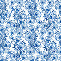 Seamless blue floral pattern. Background or Russian gzhel style. Royalty Free Stock Photo