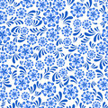 Seamless blue floral pattern in Russian gzel style Royalty Free Stock Photo