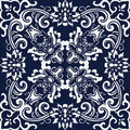 Seamless Blue Japanese Background Botanic Spiral Cross Flower