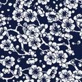 Seamless Blue Japanese Background Cross Plum Blossom