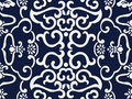 Seamless Blue Japanese Background Cross Spiral Frame Flower