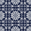 Seamless Blue Japanese Background Cross Spiral Vine Flower
