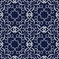 Seamless Blue Japanese Background Curve Spiral Cross Frame