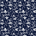 Seamless Blue Japanese Background Curve Spiral Cross Vine Flower