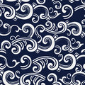 Seamless Blue Japanese Background Spiral Curve Wave Cross