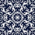Seamless Blue Japanese Background Spiral Wave Cross Flower