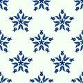 Seamless blue star winter pattern