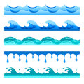 Seamless blue water wave vector bands set for footers, patterns and textures