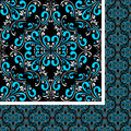 Seamless blue white damask pattern on black is presented Stock Images