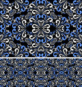 Seamless blue white pattern on the black background is presented Royalty Free Stock Photo