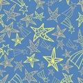 Seamless blue yellow star pattern design background