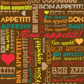 Seamless bon appetit pattern for the decoration and interiors of cafes restaurants and bars Royalty Free Stock Image