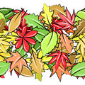 Seamless border with autumn leaves Royalty Free Stock Photography
