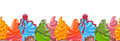 Seamless border of cartoon colored ice cream Royalty Free Stock Photo