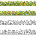 Seamless border of cartoon grass and flowers. Royalty Free Stock Photo
