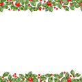 Seamless border from Christmas holly berry. EPS 10 vector Royalty Free Stock Photo