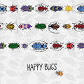Seamless border with colorful bugs and place for text bright drawing of small beetles insect on the background gray leaves Royalty Free Stock Photos