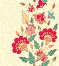 Seamless border decor blossoming flowers Stock Image