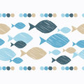 Seamless border with decorative fish. Strokes texture.