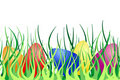 Seamless border with Easter eggs on green grass Stock Photos