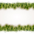 Seamless border of fir twigs with snow christmas background at the top and bottom that will tile horizontally Royalty Free Stock Photos