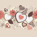 Seamless border with forest flowers and hearts Stock Images