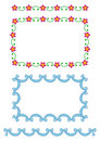 Seamless border patterns-flowers, ribbon Stock Images