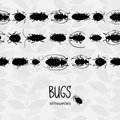 Seamless border with silhouette of bugs and place for text contrast vector drawing small beetles insect on the background Stock Image