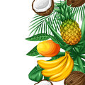 Seamless border with tropical fruits and leaves. Background made without clipping mask. Easy to use for backdrop