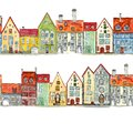 Seamless borders of watercolor hand drawn medieval houses