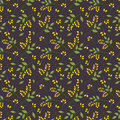 Seamless botanical pattern yellow seaberries green twigs leaves allover print on dark purple background, fabric, tapestry, wallpap