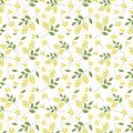 Seamless botanical pattern yellow seaberries green twigs leaves allover print on white background, fabric, tapestry, wallpaper, gi