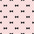 Seamless bow pattern on polka dots background. Cute fashion illustration.