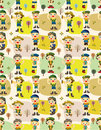 Seamless boy/girl scout pattern Stock Photography