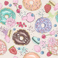 Seamless breakfast pattern with flowers, donuts, fruits.