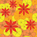 Seamless bright floral pattern vector illustratio orange and yellow illustration Stock Photo