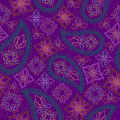 Seamless bright geometric pattern with paisley and flowers. Vector print .