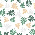 Seamless beige and green jungle leaves print. Vector multi colored illustration on light background. Original floral pattern.
