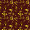 Seamless bright pattern on brown background Stock Photo