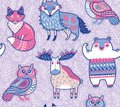 Tribal forest animals in cartoon style. Vector illustration Royalty Free Stock Photo